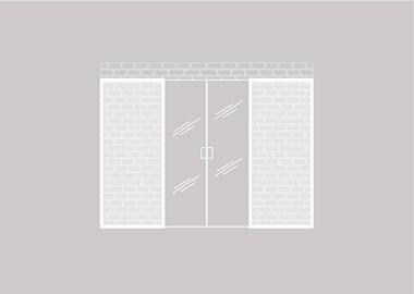 Dubbele glazen schuifdeur tegen een bestaande wand