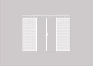Dubbele houten schuifdeur tegen een bestaande wand